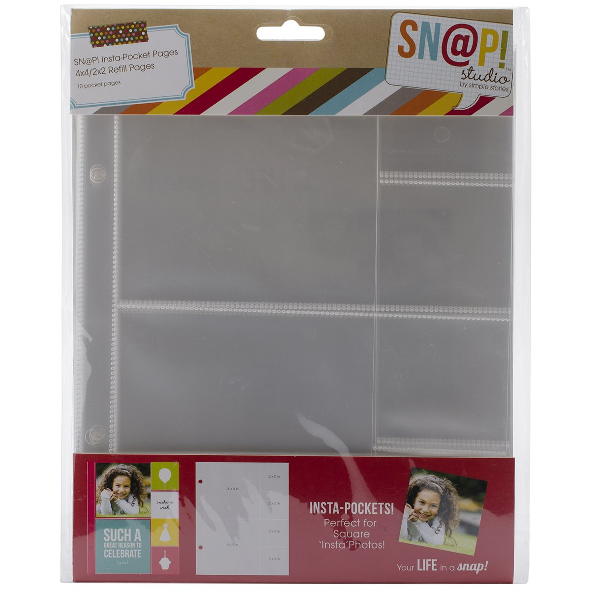 Simple Stories Snatp! Insta Pocket Pages for 6 by 8-Inch Binders with 4 by 4-Inch and 2 by 2-Inch Pockets, 10-Pack SNAP4073