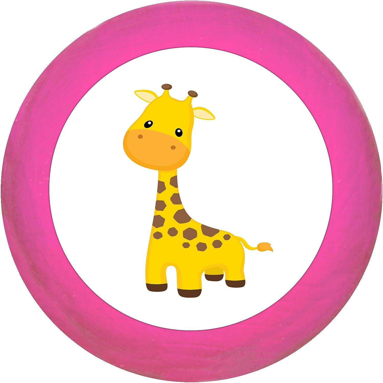 SchrankgriffGiraffe pink Holz Buche Kinder Kinderzimmer 1 St/ück wilde Tiere Zootiere Dschungeltiere Traum Kind