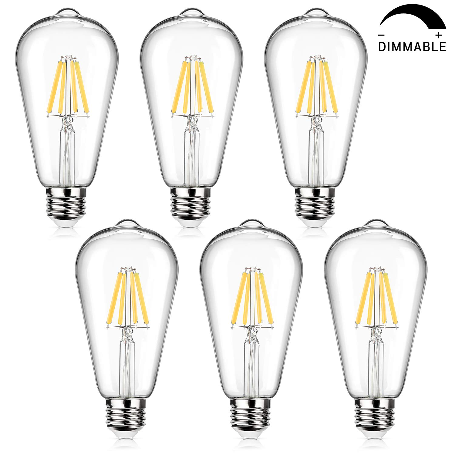 LED Edison Bulb Dimmable, 60W Incandescent Equivalent 800Lumens, Petronius 6W Vintage LED Filament Light Bulbs Daylight White 4000K, E26 Medium Base, ST64 Antique Style LED for Home Office, Pack of 6