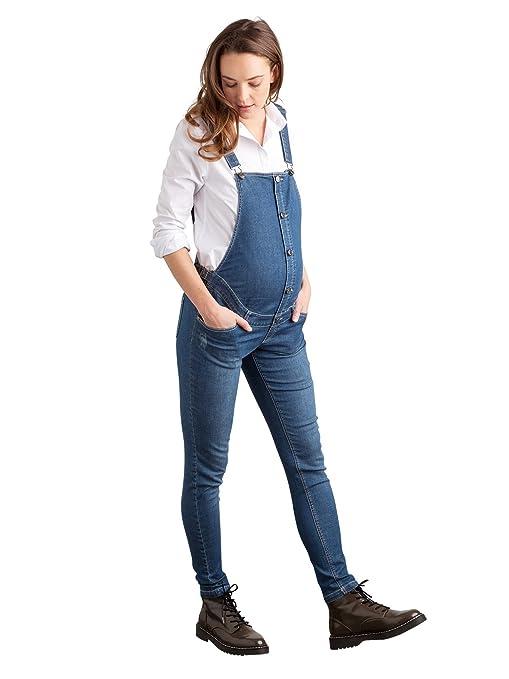 4d75d0bb4 Vertbaudet peto en jean desgastado de embarazo Entrejambe 78 azul gris  Talla 38