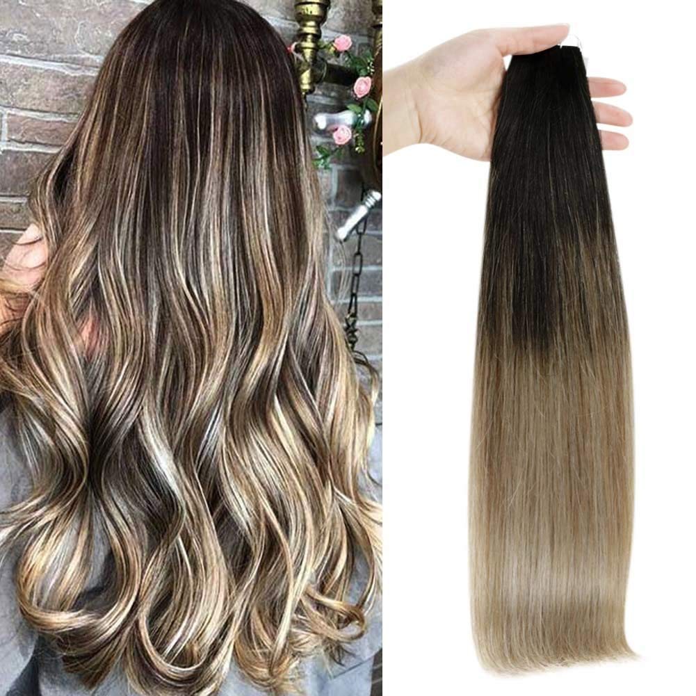 Fshine Balayage Tape In Hair Extensions 12 Inch Human Hair Color 1B Fading To 8 And 22 Blonde Highlighted Tape Remy Hair Extensions Real Hair Balayage Glue On Hair Thick Ends 30 Gram Seamless Pu Hair