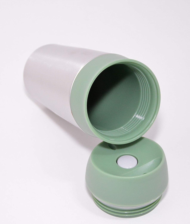 H/öhe: 21cm Taza de t/é Vaso Reutilizable Silicona Acero Inoxidable pl/ástico con bot/ón de Empuje T.V.M.Shop Taza t/érmica de caf/é para Llevar 450 ml Taza t/érmica de Acero Inoxidable Coral
