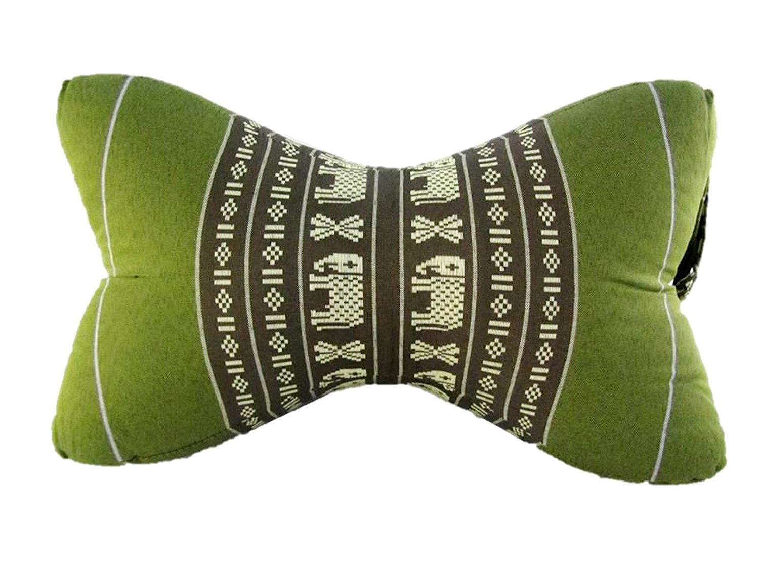 Thai Kapok Filling Daybed Reading Bed Rest Knee Wedge Bone Shaped Neck Pillow (Big Bone Elephant Green Tea) by Mongkol Brand