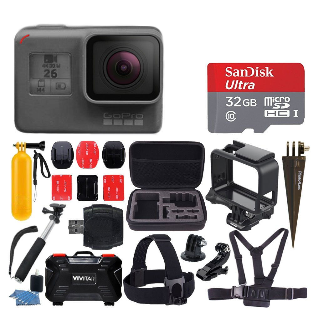 GoPro HERO6 Black Action Camera + 32GB microSDHC with Adapter + Medium Case + Vivitar Memory Card Holder (24 Slots) + Head & Chest Strap + Adhesive Mounts + Floating Handle + Spike Mount + Accessories by PHOTO4LESS
