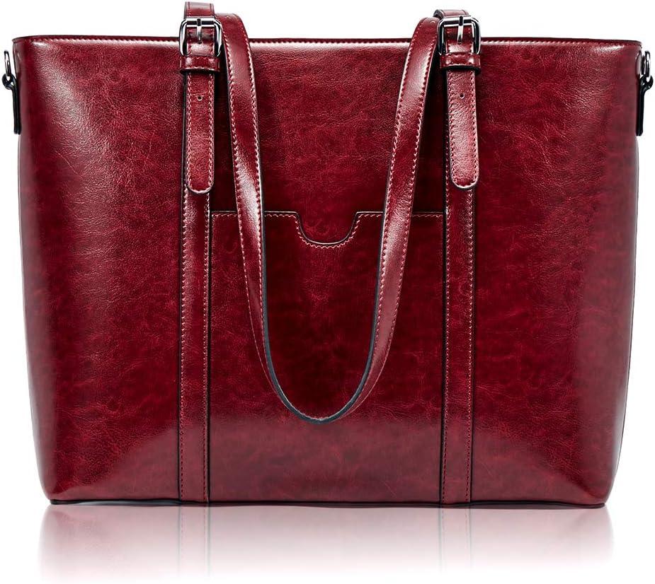 BROMEN Women Briefcase 15.6 inch Laptop Tote Bag Vintage Leather Handbags Shoulder Work Purses Wine Red