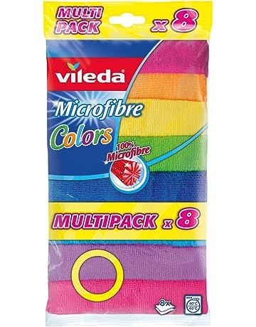 Vileda - Pack de 8 bayetas multiusos de microfibra colors vileda, colores surtidos