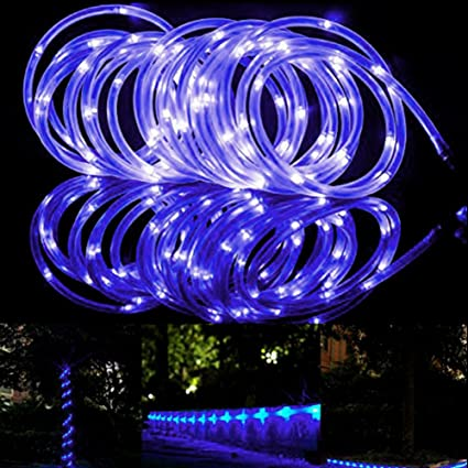 Amazon 100 led rope lights solar power outdoor waterproof 100 led rope lights solar power outdoor waterproof 33ft copper wire rope gardens backyards aloadofball Image collections
