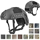 Lancer Tactical MEDIUM - LARGE Industrial ABS Plastic Constructed Maritime Helmet Adjustable Crown 20mm Side Rail Adapter Velcro padding Stickers NVG Shroud Bungee Retention Goggle Clip