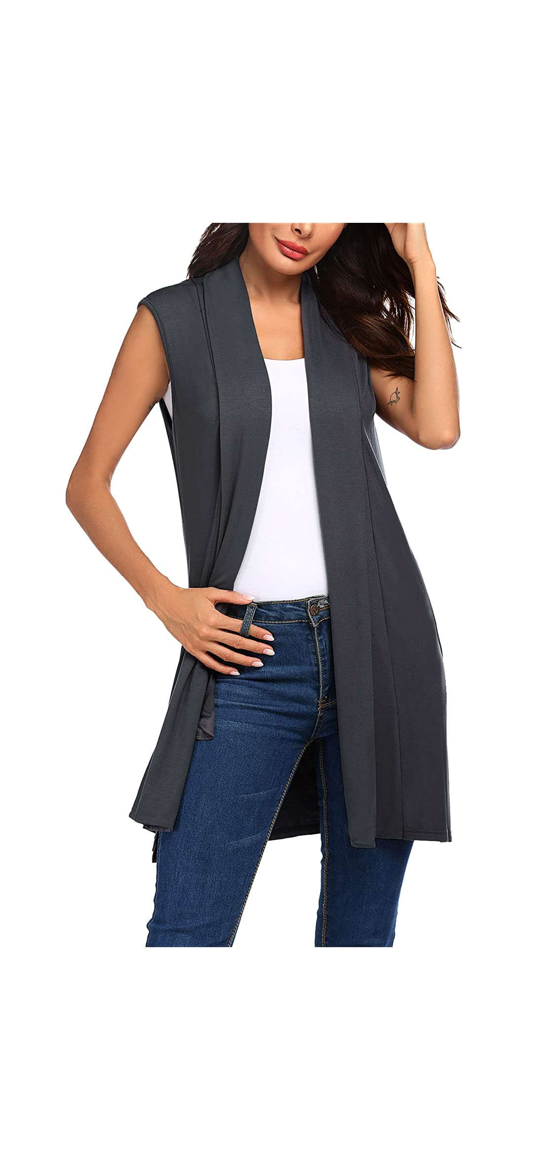 Womens Long Vests Sleeveless Draped Lightweight Open Vest