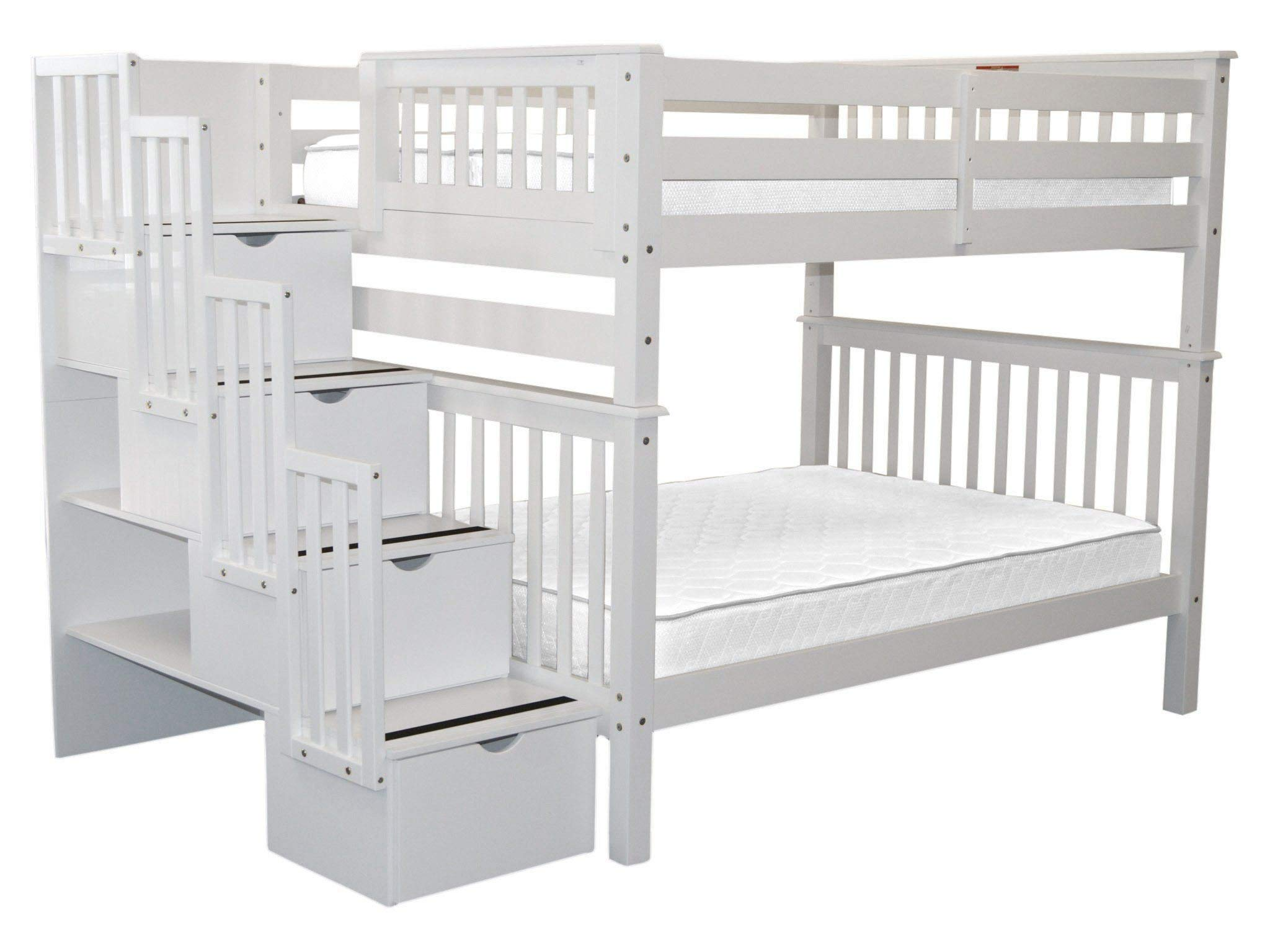Bedz King Stairway Bunk Beds Full over Full with 4 Drawers in the Steps, White by Bedz King