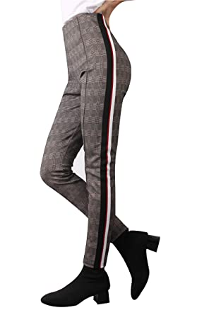 d88be729d0a99 Skinny Plaid Pants for Women, Comfort Elastic High Waist Pull On Striped  Leggings at Amazon Women's Clothing store: