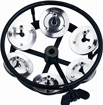Black Meinl HTHH1BK Headliner Series Hi-Hat Tambourine 1 Row Steel Jingles