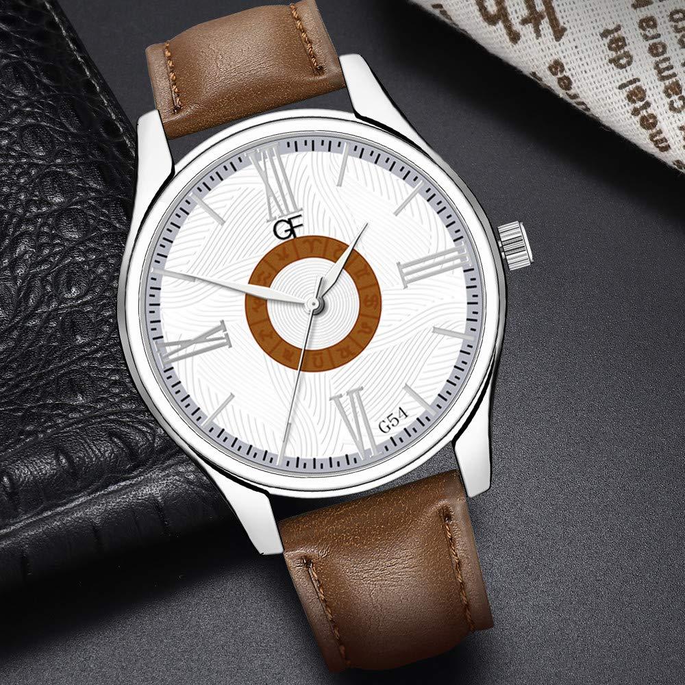 Amazon.com : XBKPLO Quartz Watches Mens Analog Wrist Watch Pointer Light Light Luxury Constellation Dial Leather Band Leisure Strap Watch Jewelry Gift ...