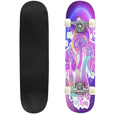 Classic Concave Skateboard Magic Mushrooms Psychedelic Hallucination Vibrant Vector Longboard Maple Deck Extreme Sports and Outdoors Double Kick Trick for Beginners and Professionals : Sports & Outdoors