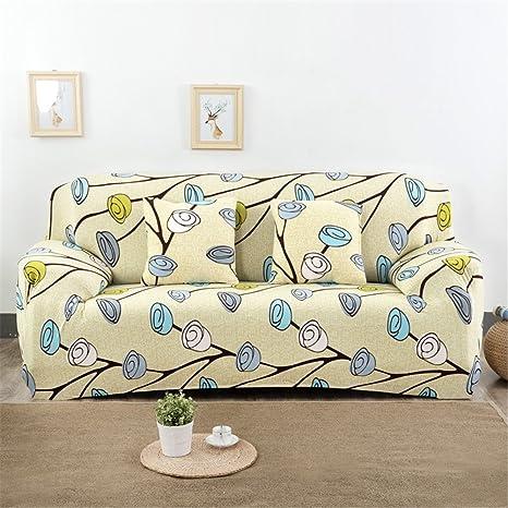 Fundas elásticas para sofá, tela, diseño de flores y pájaros, de la marca Getmorebeauty , rosa (b), 3 Seater