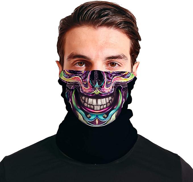 Triv Colorful Skull Seamless Bandana Neck Gaiter Cloth Face Mask Washable Reusable Balaclava Face Cover (Colorful Skull) at Amazon Men's Clothing store