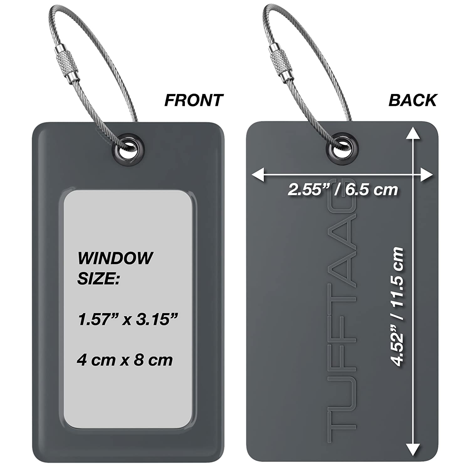 4 Grey Flexible Travel Labels 4 Pack Bundle Luggage Tags TUFFTAAG for Business Cards