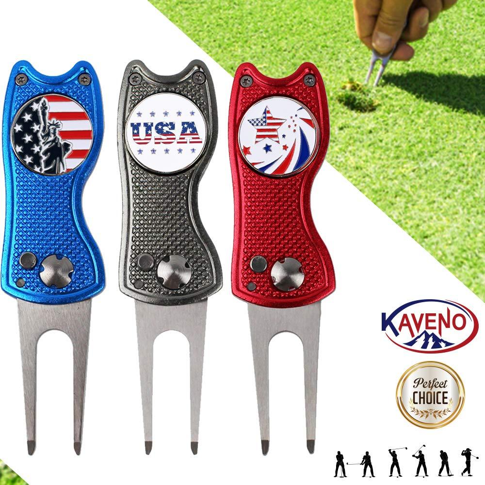 KAVENO 折りたたみ式磁気ゴルフディボットツール ステンレススチールスイッチブレード 米国ゴルフボールマーカー付き  Mixed - 3PCS B07HVPYRDY