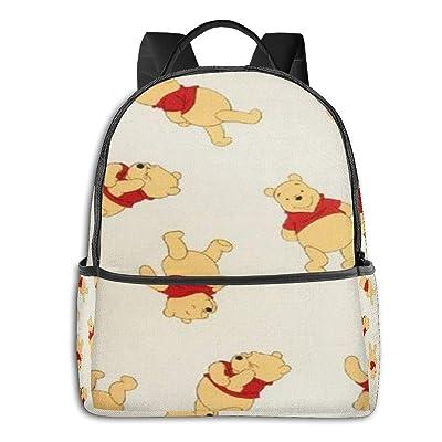 Winnie Pooh Black Backpack Zipper School Bag Travel Daypack Unisex Adult Teens Gift: Computers & Accessories