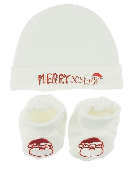 Juego de 2 botines de Papá Noel para recién nacidos con gorro de ...