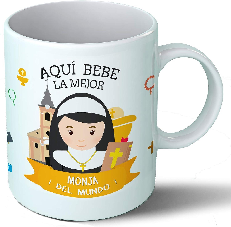 Planetacase Taza Desayuno Aquí Bebe la Mejor Monja del Mundo Regalo Original Cristianismo Ceramica 330 mL
