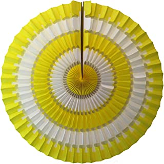 product image for Devra Party 3-Pack 16 Inch Striped Honeycomb Tissue Paper Fan (Yellow/White)