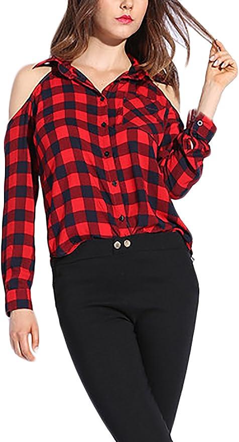 Camisas Cuadros Elegantes Camisas Tops Anchos Blusa Moda Joven Niña Primavera Otoño Camisa De Manga Larga Casuales Sin Tirantes De Solapa Cuadros Shirts: Amazon.es: Ropa y accesorios