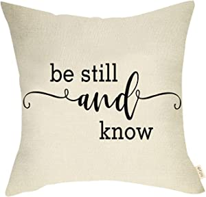 """Fjfz Rustic Farmhouse Decorative Throw Pillow Cover Be Still and Know Motivational Sign Christian Housewarming Gift Holiday Decoration Home Décor Cotton Linen Cushion Case for Sofa Couch 18"""" x 18"""""""