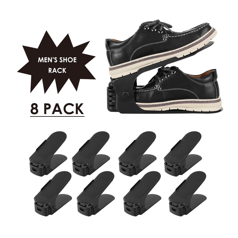 Femor Soporte para Zapatos con Ranuras 8PCS Organizadores Ajustables de Zapatos Ahorro de Espacio Negro product