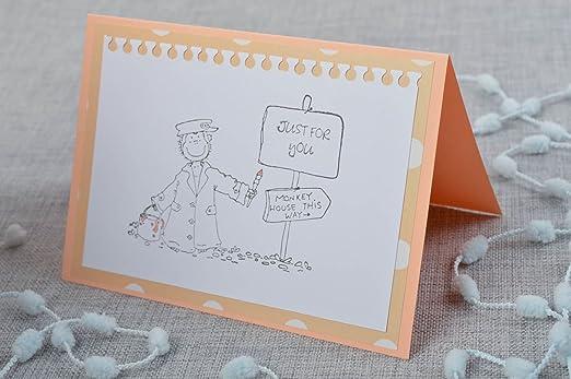 Tarjeta de felicitacion postal hecha a mano graciosa ...