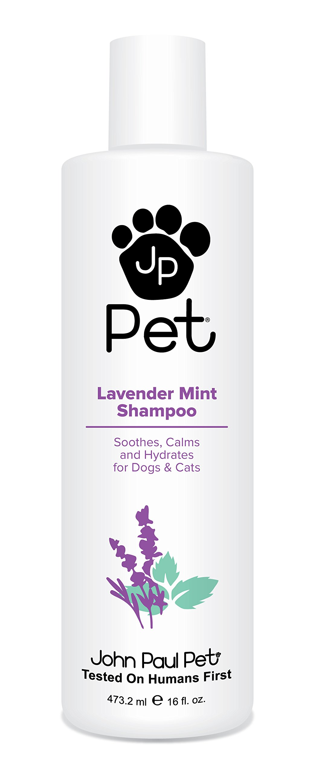 John Paul Pet Lavender Mint Shampoo for Dogs and Cats, Soothes Calms and Hydrates, 16-Ounce