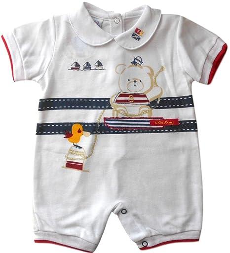 0 – 3 meses – Bebé Pelele de Short-Legged verano color blanco azul y