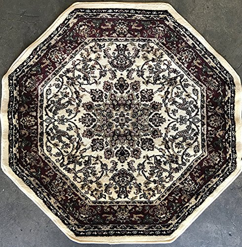 5'6 Octagon Area Rug (Traditional Octagon Persian 330,000 Point Oriental Area Rug Ivory Deir Debwan Design 603 (5 Feet 3 Inch X 5 Feet 3 Inch ))