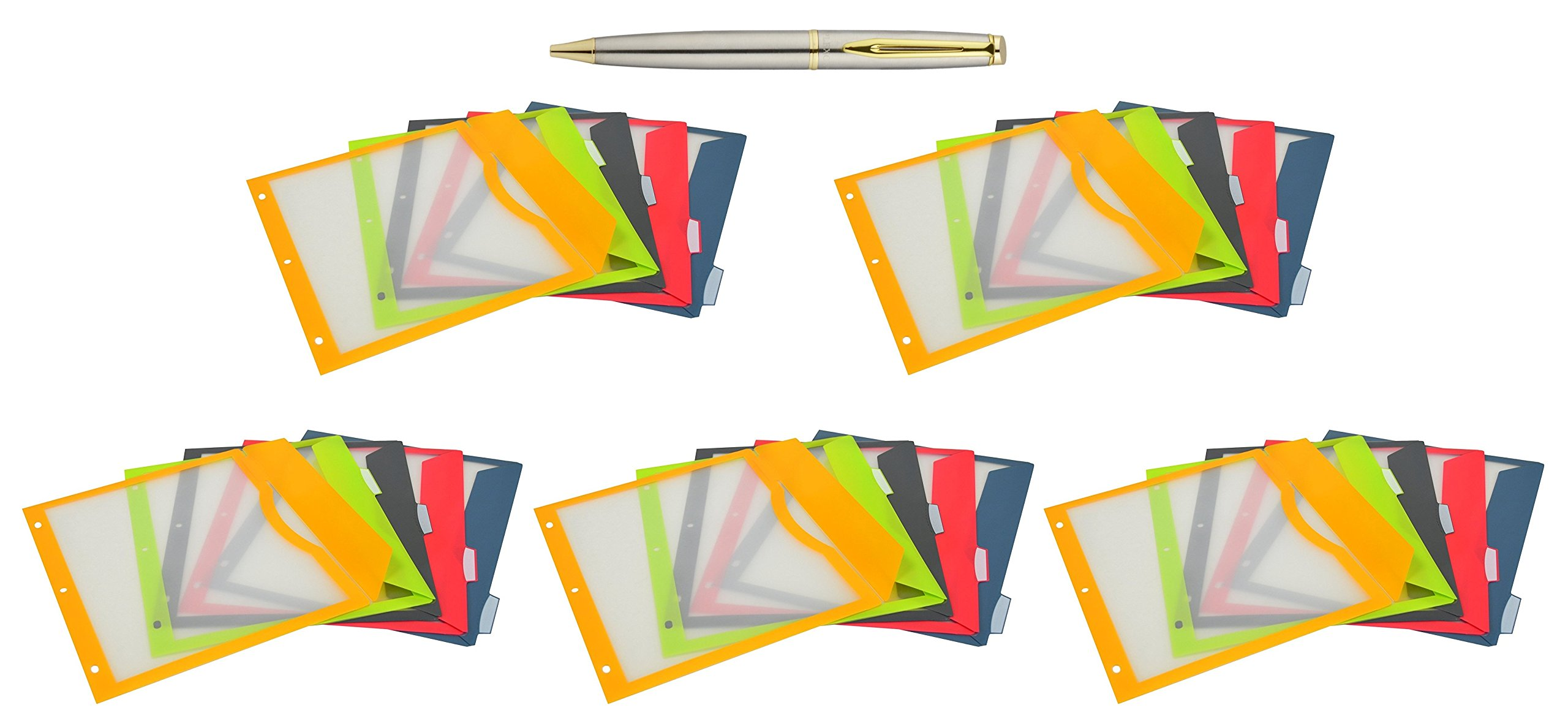 C-Line 5-Tab Binder Pockets with Write-On Index Tabs, Assorted Colors, 8.5 x 11 inches, 25 Pockets per Pack, Bundled with a Plexon Pen