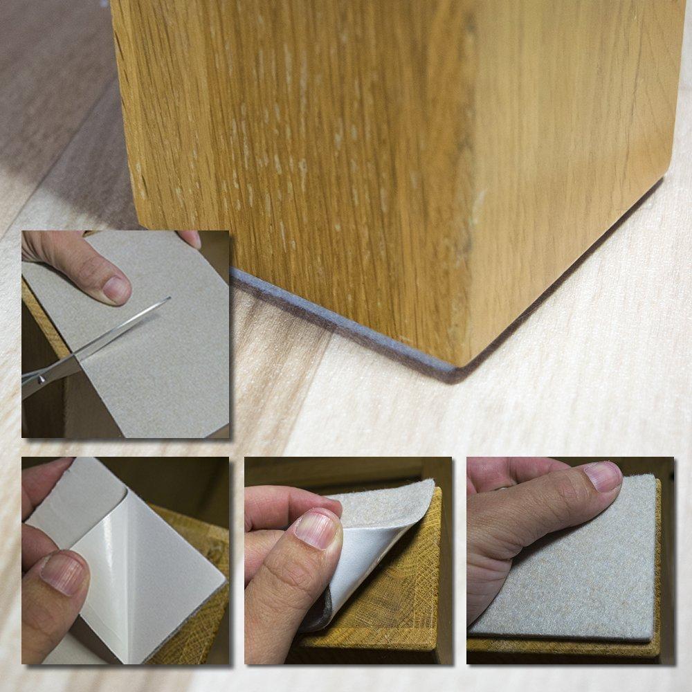 rechteckig Selbstklebender Filz f/ür M/öbel zum selbst Zuschneiden 11,3 x 15,3 cm Hynec Premium M/öbelschoner // Filzunterlage Filzgleiter Stuhl 8 gro/ße Teile