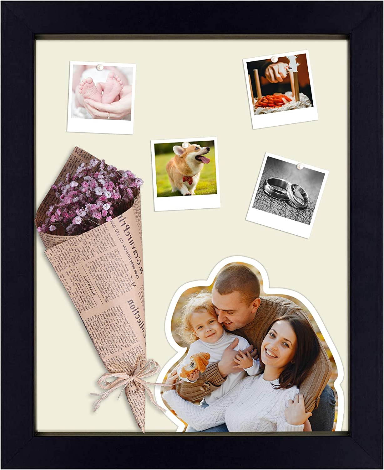 Decorations Black, 8.5x11 Frame, 2-Pack Swivel Tabs Frametory Includes Sawtooth Hanger Great for Engagements Projects Shadow Box Frame Includes Moveable Separator for Gallery Wall Display