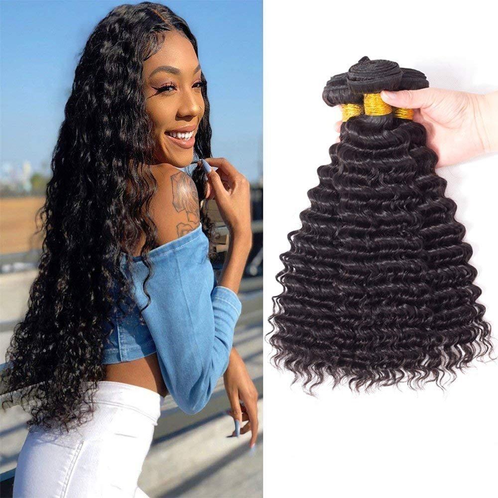 Amazon Brazilian Deep Wave Human Hair Bundles Brazilian