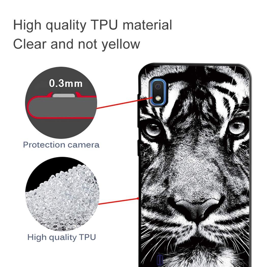 EuCase 2X Cover per Samsung A10 Silicone Nero Morbido Custodia Samsung A10 Antiurto Ultra Sottile TPU Flessibile Protettivo Bumper Case Cover Fiore Blu