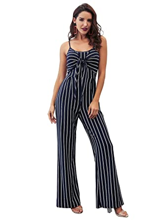 272f059a9e6b Glamaker Womens Casual Strap Striped Long Pants Jumpsuit Romper Sleeveless