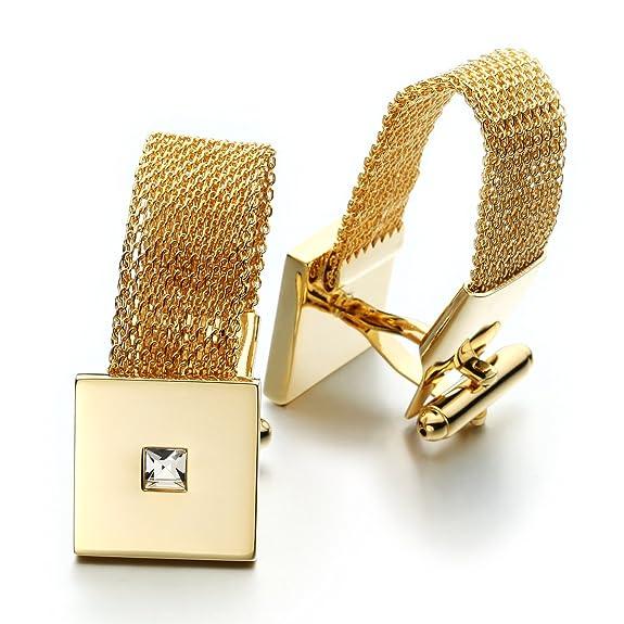 Amazon.com: Sirius Jewelry Mens Stylish Square Gold Chain Cufflinks: Jewelry