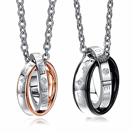 8ab6c69714 Amazon.com: Kinteshun Couples Necklace with Titanium Stainless Steel  Double-Ring Pendant,His-and-Hers Matching Set Lovers Necklace(Eternal Love):  Arts, ...