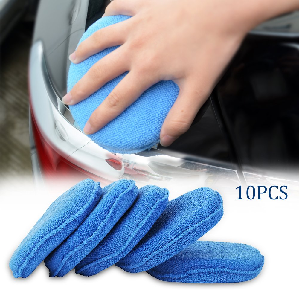 10pack Car Polishing Foam Waxing Pads 5' Vehicle Polish Detailing Sponge Microfibre Applicator Cleaner Librao