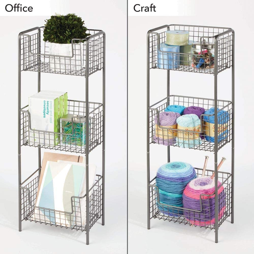 Toiletries Hand Soap Decorative Metal Storage Organizer Tower Rack with 3 Basket Bins to Hold and Organize Bath Towels Graphite Gray mDesign 3 Tier Vertical Standing Bathroom Shelving Unit