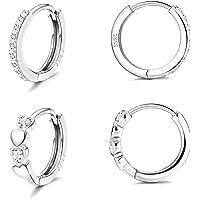 Fansilver 925 Sterling Silver Small Hoop Earrings for Women Cubic Zirconia Huggie Hoop Earrings Love Heart Cubic…