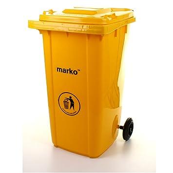 Marko Papelera de hogar con ruedas, cubo de basura de exterior para residuos de 240 L en color verde/gris, amarillo: Amazon.es: Jardín