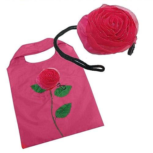 Bolsa Mano Compra Flor Rojo Rosa Negro Nylon Reutilizable + Pinza De Pelo Rosa