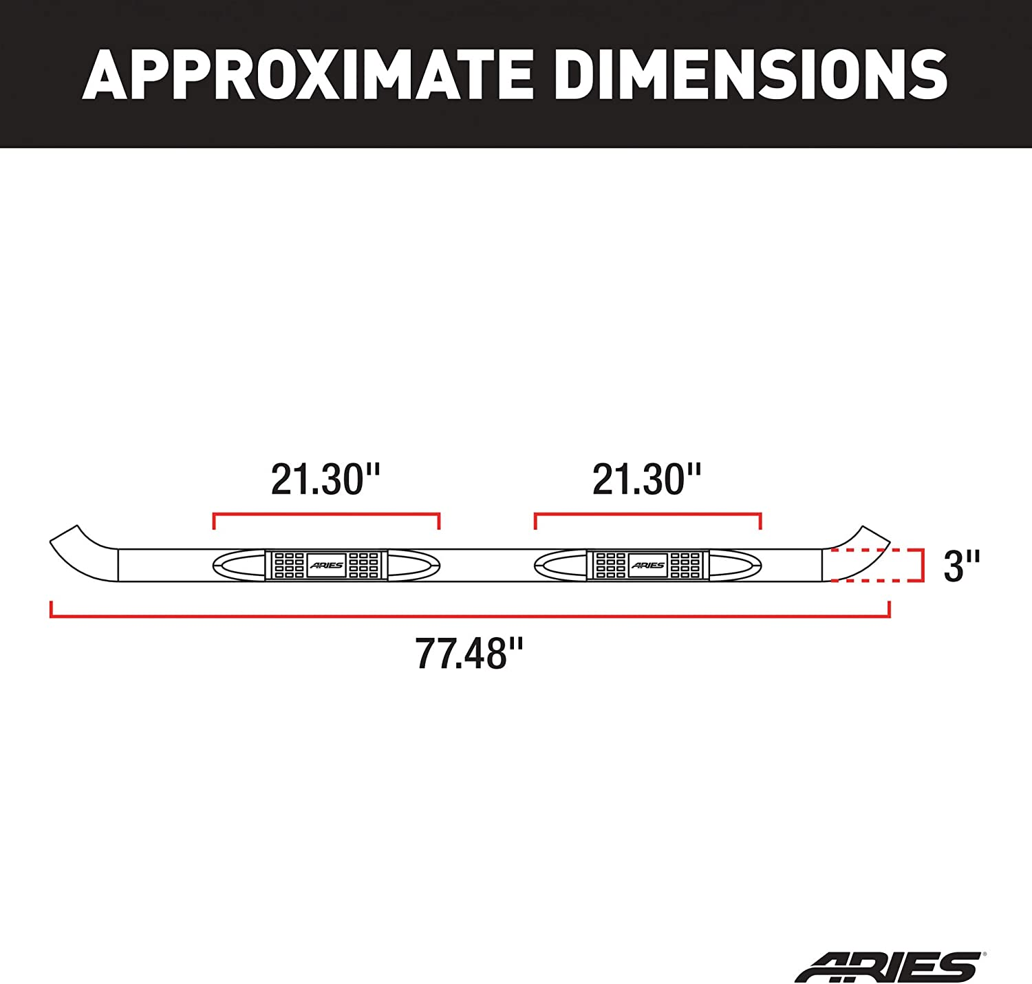 Aries Automotive 204009-2 Stainless Steel Side 3-Inch Step Bar