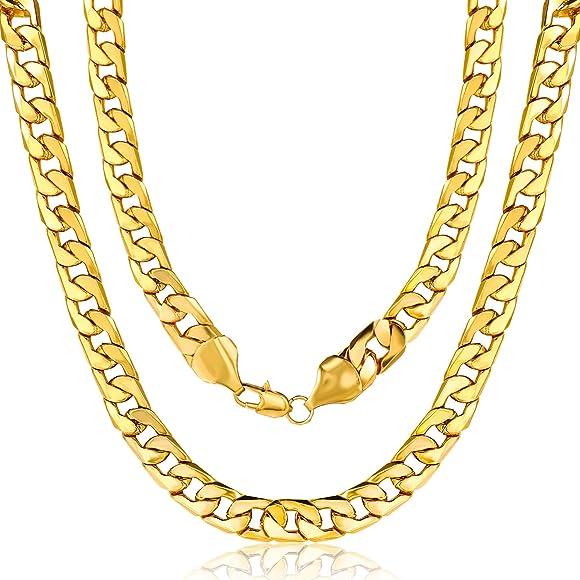 Amazon.com: 2 piezas Chunky chapado en oro collar cubana ...