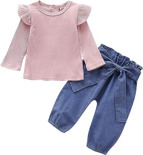 Camidy Trajes de Niño Traje Ropa Bebé Niña con Volantes Pit Camisa de Algodón Top + Pantalones de Mezclilla: Amazon.es: Deportes y aire libre