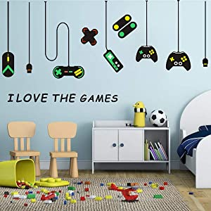 Easu Game Wall Stickers Game Controllers Vinyl Wall Decal Peel & Stick Art Decor Playroom Wall Decals Children Gift Nursery Boys Room Wall Vinyl Decal